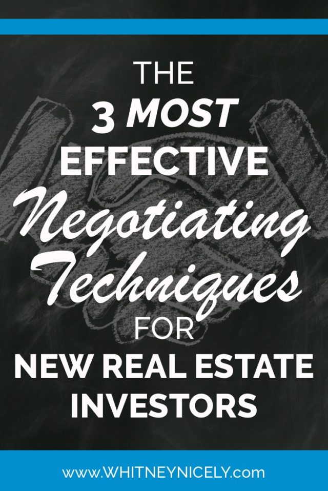 Title images with handshake behind it saying The 3 Most Effective Negotiating Techniques for New Real Estate Investors