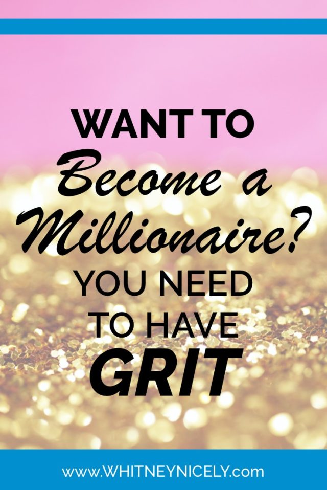 """Gold Flakes image - quote """"Want to become a millionaire? You need to have GRIT"""""""