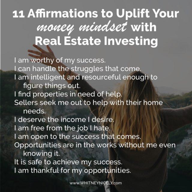 money mindset, affirmations, get started in real estate investing, investing in real estate for beginners, entrepreneur, women in business